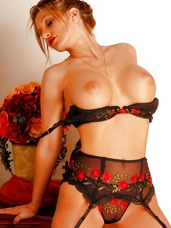 Shows Off Her Classic Black And Red Lingerie