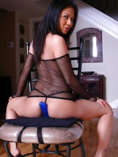 Jade Marcela Hot Asian Babe In Black Fishnets