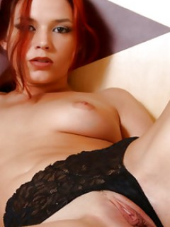 Horny Ravon Pulls Her Black Lace Panties Aside To Play With Her Tight Perfect Pussy