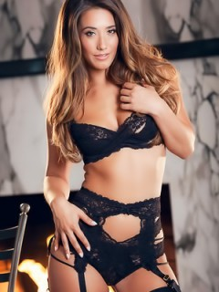 Eva Lovia Very Sexy In Black Lingerie
